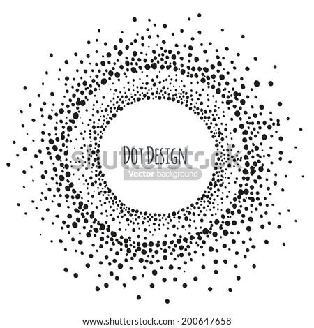 Abstract hand drawn dots frame Vector illustration