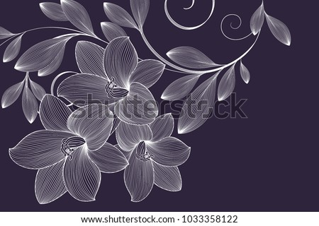 Abstract  hand drawn floral pattern with lily flowers. Vector illustration. Element for design. #1033358122