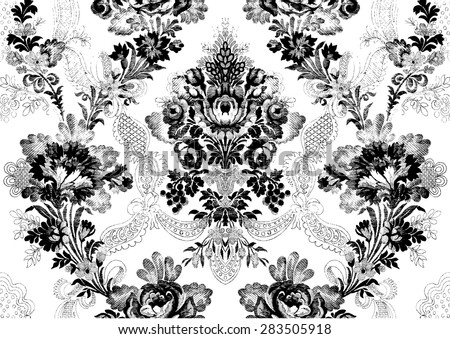 Abstract Hand Drawn Floral Seamless Pattern Victorian Vintage Background Print For Wallpaper