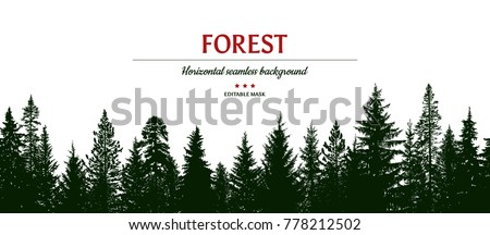 Abstract hand drawn forest background. Horizontal seamless pattern. Editable mask. 17 tree silhouettes. Template for your design works. Vector illustration.