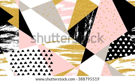 Abstract hand drawn geometric seamless pattern  or background with glitter, sharpen textures, brush painted elements. Poster, card, textile, wallpaper template. Gold, pink, black and white colors.