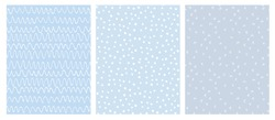 Abstract Hand Drawn Infantile Style Geometric Vector Pattern Set. White Waves, Arches and Dots Isolated on a Various Blue Backgrounds. Simple Irregular Repeatable Geometric Vector Pattern.