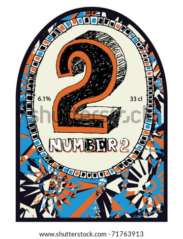 abstract hand drawn label design, doodle numerals template