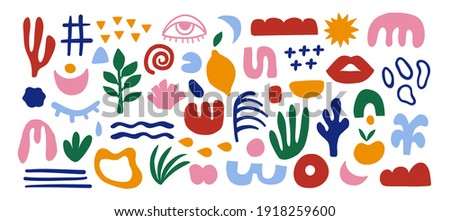 Abstract hand drawn organic shapes. Colorful background with doodle nature forms. Set of colored drawn objects in vector