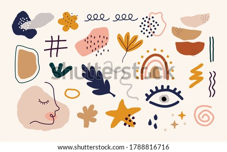 Abstract hand drawn organic shapes. Doodle set of colorful objects modern contemporary style. Vector isolated illustration. Photo stock ©