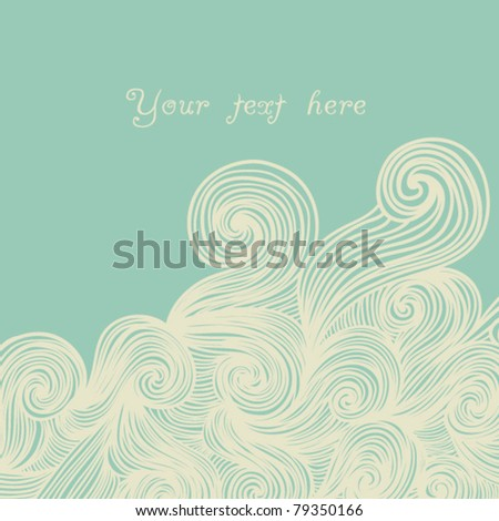 abstract hand-drawn pattern, looks like hair or waves with place for your text