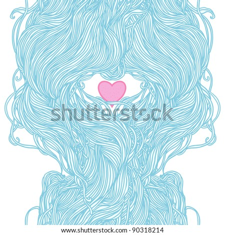 Abstract hand-drawn pattern, waves and heart background. Seamless pattern can be used for wallpaper, pattern fills, web page background, surface textures. - stock vector
