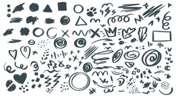 Abstract hand drawn vector symbols set. Hearts, circles, triangles doodles pack. Geometric shapes and marker scribbles. Ink, pencil, brush smears. Spot, cross, arrow, leaf chaotic decorative sketches