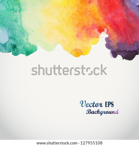 Abstract hand drawn watercolor background,vector illustration, stain watercolors colors wet on wet paper. Watercolor composition for scrapbook elements with empty space for text message.