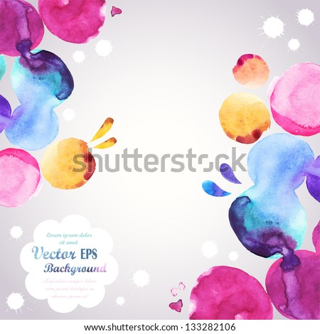 Abstract hand drawn watercolor background,vector illustration, stain watercolors colors wet on wet paper. Watercolor composition for scrapbook elements
