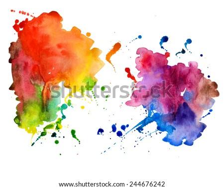 abstract hand drawn watercolor