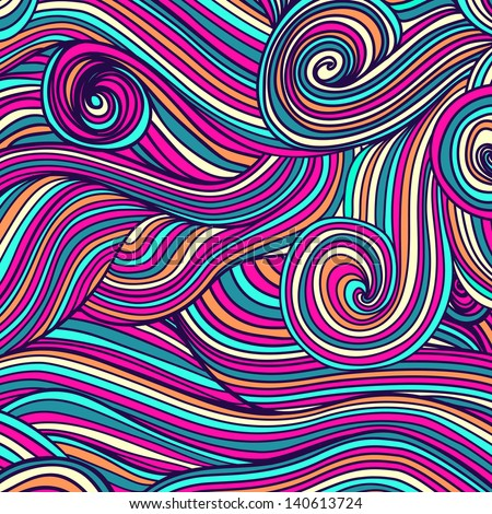 Abstract hand-drawn waves texture, wavy background.