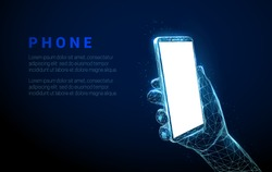Abstract hand holding mobile phone with white empty screen. Low poly style design. Geometric background. Wireframe light connection structure. Modern 3d graphic concept. Isolated vector illustration.