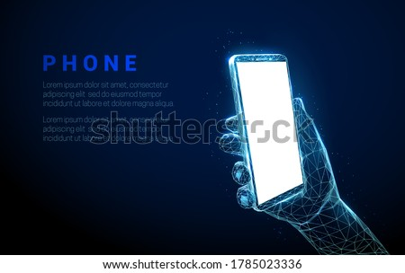 Abstract hand holding mobile phone with white empty screen. Low poly style design. Geometric background. Wireframe light connection structure. Modern 3d graphic concept. Isolated vector illustration. Photo stock ©