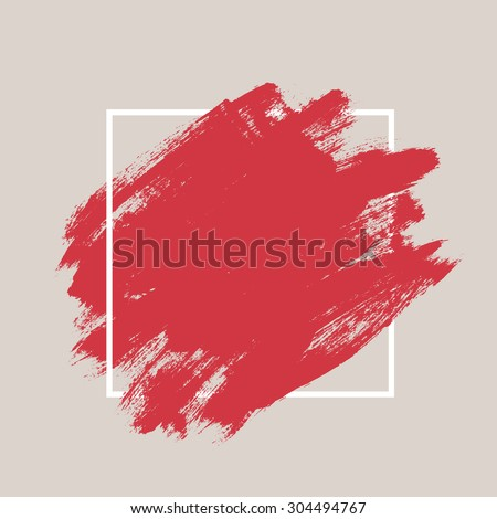 Abstract hand painted textured ink brush background with geometric frame, isolated strokes  with dry rough edges #304494767