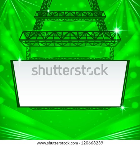 abstract hanging steel tower with white board - stock vector