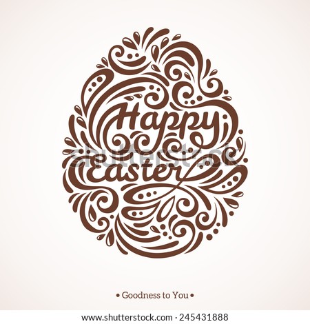 Abstract Happy Easter Lettering in Form of Egg. Vector Illustration.