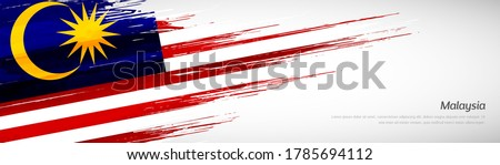 Abstract happy independence day of Malaysia with creative watercolor national brush flag background Foto stock ©