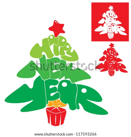 Abstract Happy New Year card - Christmas tree is made of letters - Handmade Calligraphy