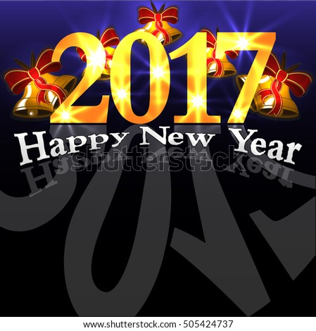 Abstract Happy New Year colorful abstraction background black #505424737
