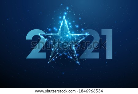 Abstract Happy 2021 New Year greeting card with blue star. Low poly style design. Abstract geometric background. Wireframe light structure. Modern 3d graphic concept. Isolated vector illustration