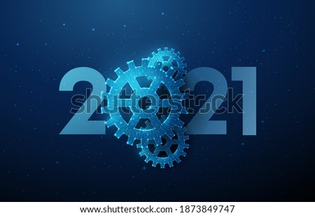 Abstract Happy 2021 New Year greeting card with cogwheel. Low poly style design. Abstract geometric background. Wireframe light structure. Modern 3d graphic concept. Isolated vector illustration.