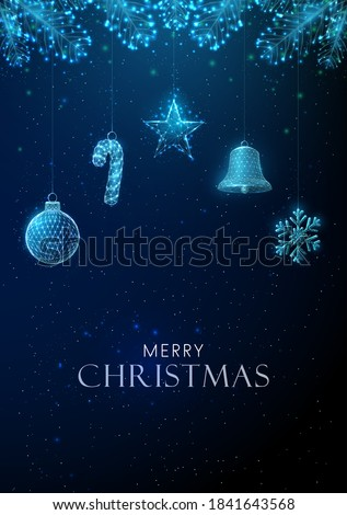 Abstract Happy New Year greeting card with hanging Christmas toys. Low poly style design Abstract geometric background Wireframe light structure Modern 3d graphic concept. Isolated vector illustration