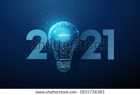 Abstract Happy 2021 New Year greeting card with light bulb. Low poly style design. Abstract geometric background. Wireframe light structure. Modern 3d graphic concept. Isolated vector illustration