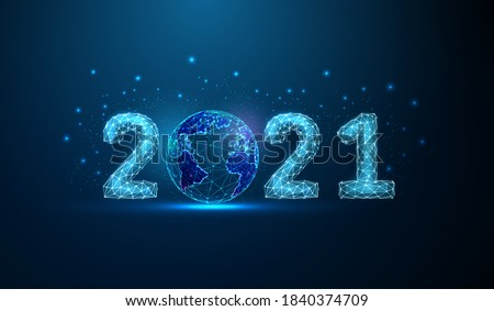 Abstract Happy 2021 New Year greeting card with planet. Low poly style design. Abstract geometric background Wireframe light connection structure Modern 3d graphic concept Isolated vector illustration