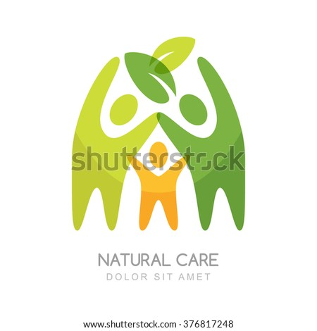 Abstract happy people silhouettes. Vector logo design template. Concept for natural health care, family wellness, ecology and protection nature.