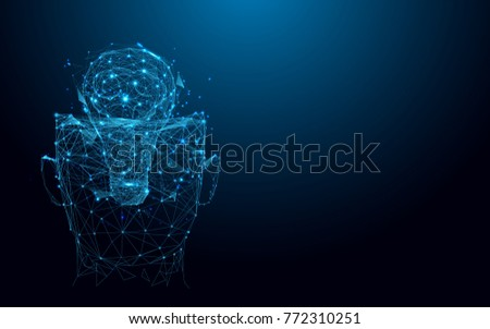 Abstract Head and lightbulb from lines and triangles, point connecting network on blue background. Illustration vector