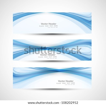 Abstract header blue wave technology vector