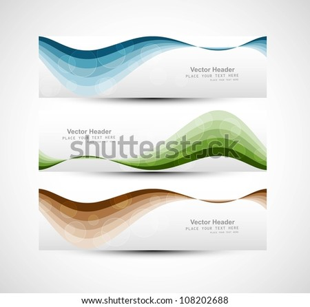 Abstract header colorful wave vector illustration