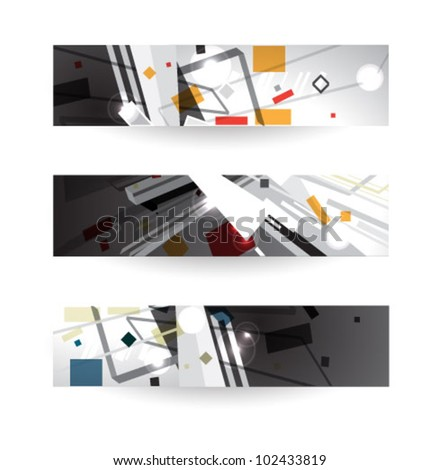 abstract header vector set, three banners