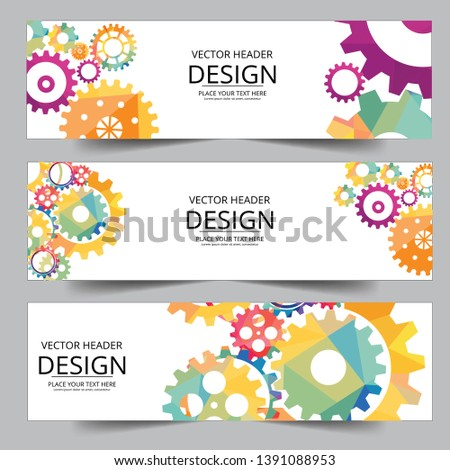 Abstract header web banner techno gear background with geometric colorful gear wheels. Space for gear text. Vector gears modern mechanism industrial concept. Technology gears background. Gears Vector.