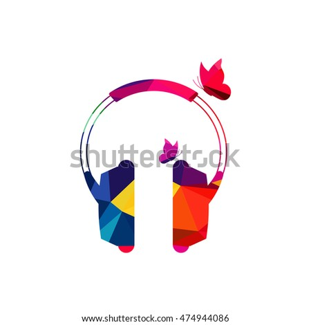 abstract headphone colorful low