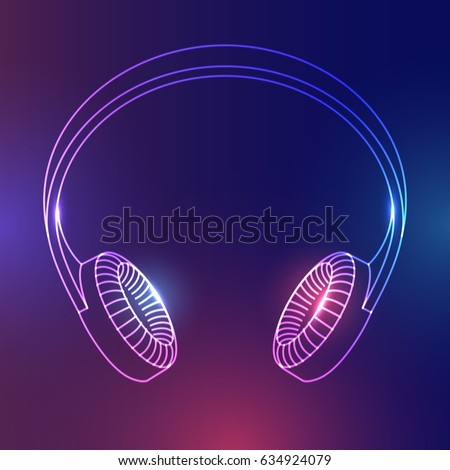 abstract headphones with glow