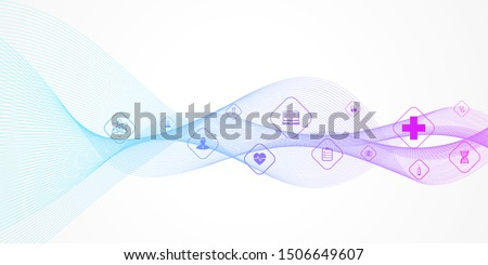Abstract health care banner template with flat icons. Healthcare medicine concept. Medical innovation technology pharmacy banner. Vector illustration.