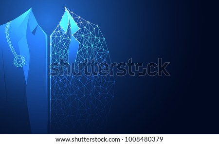 Abstract health medical science consist doctor digital technology concept modern future,Treatment,medicine on hi tech future blue background. for template, web design or presentation.