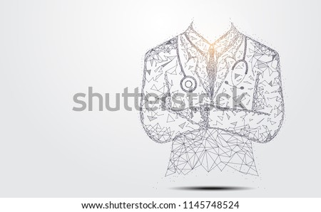 Abstract health medical science consist doctor digital wireframe concept modern medical technology,Treatment,medicine on gray background. for template, web design or presentation.