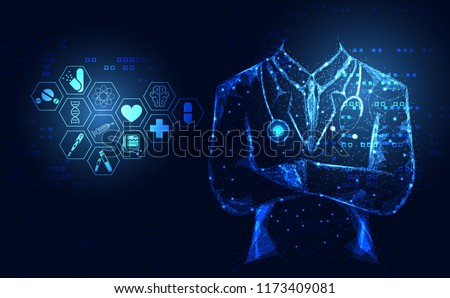 Abstract health medical science healthcare icon digital technology doctor concept modern innovation,Treatment,medicine on hi tech future blue background. for wallpaper, template, web design.