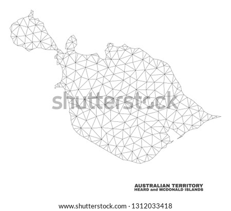 Abstract Heard and McDonald Islands map isolated on a white background. Triangular mesh model in black color of Heard and McDonald Islands map.