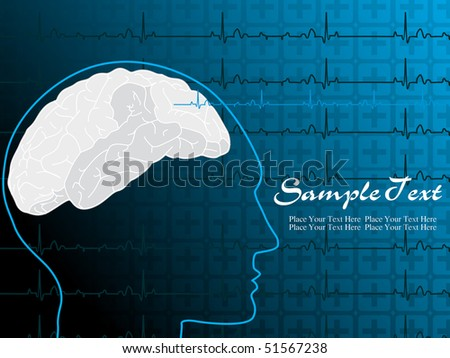 abstract heart beat background with human face illustration