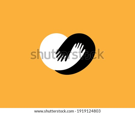 Abstract heart from human hands flat logo template. Creative care, hug, help vector sign icon logotype.
