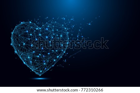 Abstract Heart icon from lines and triangles, point connecting network on blue background. Illustration vector