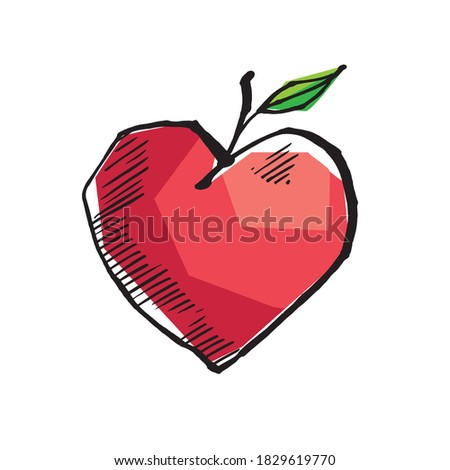 abstract heart shape apple in
