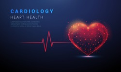 Abstract heart shape with red cardio puls line. Low poly style design. Abstract geometric background. Wireframe light connection structure. Modern blue 3d graphic concept. Isolated vector illustration