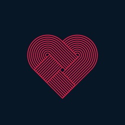 Abstract heart, twisted lines, line design, vector