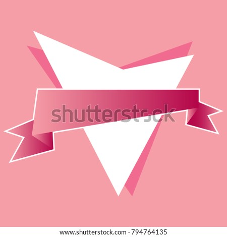 Abstract heart with pink ribbon in the foreground.Pink background
