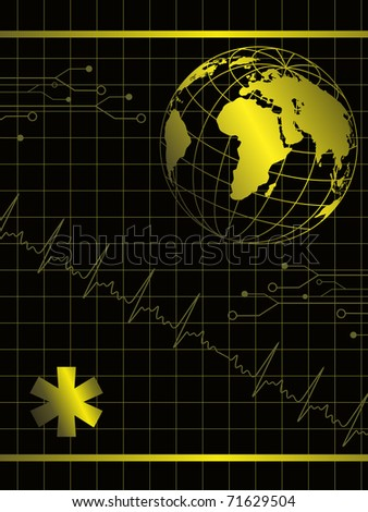 abstract heartbeat background  with globe, medical symbol